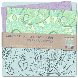 Seamless Pattern Tile Singles #2 - Doodled Paisley