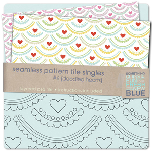 Seamless Tile Pattern Singles #6 - Doodled Hearts