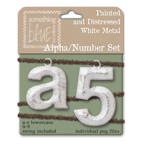 Distressed White Metal Alpha/Number Set